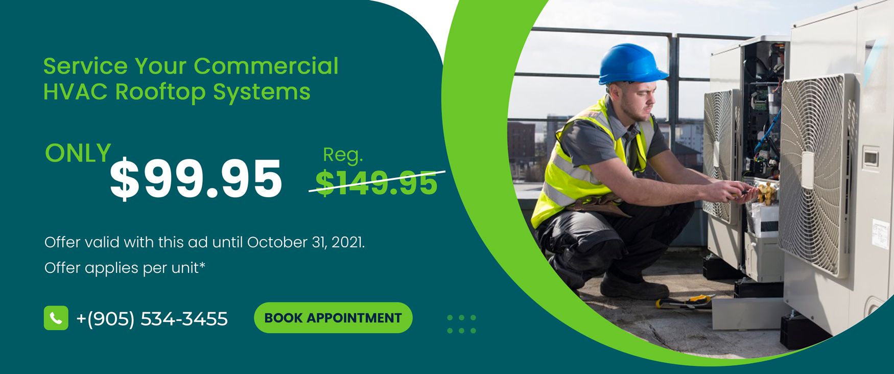 Commercial hvac rooftop service or inspection for only $129 up to 5 tons*